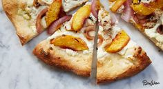 Grilled Peach, Chicken and Ricotta Pizza via @PureWow