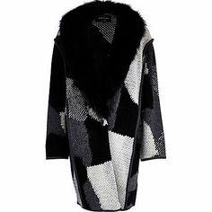 Black textured knit faux fur collar coat £50.00