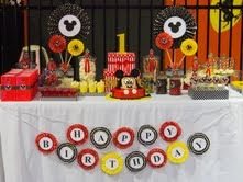 Mickey Mouse Candy Bar - 1st Birthday theme colors red, black and yellow.