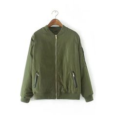 Yoins Army Green Military Quilted Bomber Jacket With Zipped Pocket (295 GTQ) ❤ liked on Polyvore featuring outerwear, jackets, yoins, green, puffer jacket, quilted bomber jacket, quilted jacket, olive bomber jacket and flight jacket