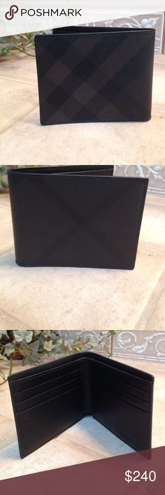 """NWOT Men's Burberry Check Wallet NWOT. Never used. Retails at Nordstrom for $295. Gorgeous chocolate/black wallet. 4""""w x 3 1/2""""h x 1/2""""d From Nordstrom: Embossed checks underscore the handsome style of a bifold wallet with leather trim. Interior currency pocket, 6 card slots. PVC with leather trim. NO TRADES Thx! 😊 Burberry Bags Wallets"""