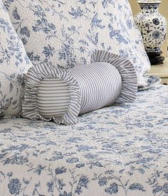 A ticking stripe pillow from Country Curtains.