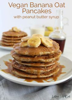 These simple vegan banana oat pancakes are made in a blender and are gluten free. Topped with a rich and delicious peanut butter protein syrup, this is a tasty and healthy vegan breakfast recipe. Banana Protein Pancakes, Banana Oats, Vegan Pancake Recipes, Whole Food Recipes, Keto Recipes, Vegetarian Recipes, Healthy Recipes, Vegan Meal Plans, Vegan Meal Prep