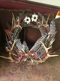 Antler wreath, Antler crafts, Diy antlers, Deer antler decor, Home. You are in the right place abo Deer Decor, Rustic Decor, Antler Decorations, Deer Horns Decor, Antler Centerpiece, Rustic Wood, Funky Home Decor, Diy Home Decor, Hunting Home Decor