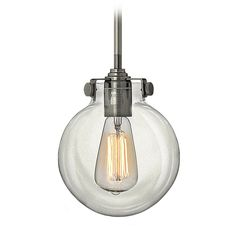 Mini-Pendant Vintage Light with Clear Hand Blown Glass Globe at Destination Lighting