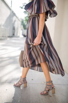 stripe off the shoulder dress, perfect fall transitional outfit