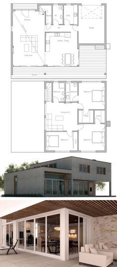 Le plan House Pinterest - plan maison plain pied 200m2