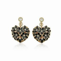 Personalized Swarovski Element Crystal Heart Black Stud Women Earrings DC29E3291 $7.25