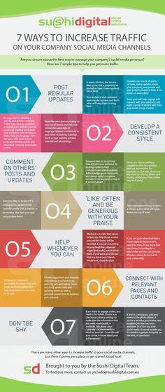7 Formas de Aumentar o Tráfego nos Canais de Social Media da sua Empresa. #infographic #socialmedia #smo