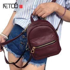 1b5074a83149 52% СКИДКА|AETOO новая личность Корейская версия кожи три с мини сумка  женский прилив небольшой рюкзак мини сумка shoulde купить на AliExpress