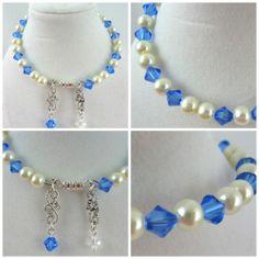 Swarovski Cream Pearls and Blue Crystals Memory Wire Bracelet