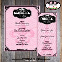 Paris Party - French Cafe - French Bistro - Customized Menu - Printable (Parisian Birthday Party)