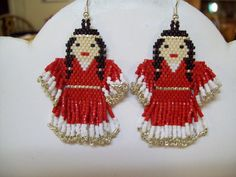 Native Amerian Beaded Red and White Indian by BeadedCreationsetc, $30.00