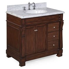 Kitchen Cabinets Ideas   Kitchen Bath Collection KBC36TRA22BRCARR Westminster Bathroom Vanity with Marble Countertop Cabinet with Soft Close Function and Undermount Ceramic Sink CarraraBrown 36 -- See this great product.(It is Amazon affiliate link) #100likes