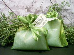 Absinthe Bath Salt in a shimmery green handmade organza bag