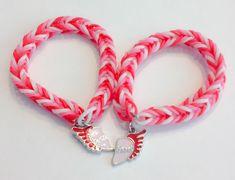 Rainbow Loom Fishtail Rubber Band Bracelet - Best Friend, Heart with Wings BF bracelets by BCsBracelets