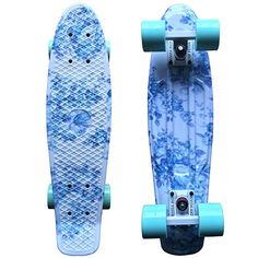 Focus Boards Penny Style Skateboard Complete Blue Floral Print
