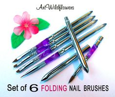 Nail Art Tools  6 FOLDING Brush Set  for Nails by ArtWildflowers, $14.00