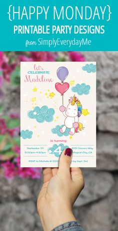 Your weekly free printable design from SimplyEverydayMe // Unicorn Party Invitation // Simply edit text using Adobe Reader with your party info, print, create and share... it's that easy! SimplyEverydayMe... playful party printables... print.create.share #happymonday #SimplyEverydayMe #unicornparty