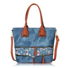 Denim Bag Ladies Handbag Floral Canvas Shoulder Large Capacity Zipper Weave Tote Crossbody Bags
