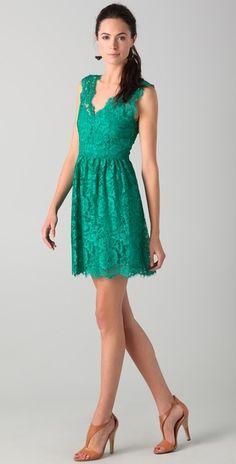 Lace V Back Dress - Lyst