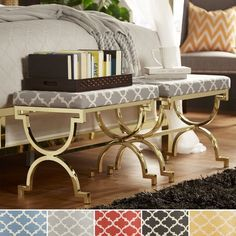 Kenza Moroccan Print Pattern Gold Plated Stool by INSPIRE Q | Overstock.com Shopping - The Best Deals on Benches