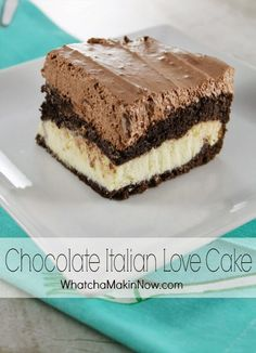 Chocolate Italian Love Cake - It's so simple, but it looks great. Chocolate cake with a sweet ricotta and cheese filling. Chocolate Italian Love Cake - It's so simple, but it looks great. Chocolate cake with a sweet ricotta and cheese filling. 13 Desserts, Delicious Desserts, Easy Italian Desserts, Make Ahead Desserts, Sweet Recipes, Cake Recipes, Dessert Recipes, Picnic Recipes, Italian Love Cake