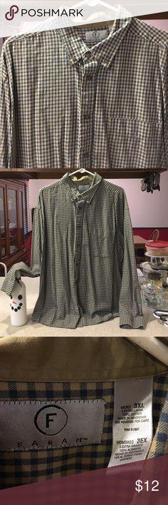 3XL men's dress shirt, long sleeve Brown and blue checked long sleeve shirt, 1 pocket Farah Shirts Casual Button Down Shirts