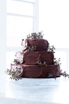 Floral Chocolate Wedding Cake