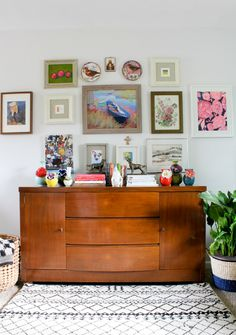 Colorful Art Collage Wall | A Cleveland Home Filled with Art and Handmade Pieces | Design*Sponge