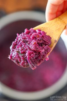 Instant Pot Braised Red Cabbage is a quick side dish that goes well with roast duck, chicken, sausages or pork. This delicious sweet and sour braised cabbage only needs to be cooked 5 minutes under … Creamed Cabbage, Cabbage And Sausage, Vegetarian Cabbage, Vegetarian Recipes, German Red Cabbage, Red Cabbage Recipes, Braised Red Cabbage, Pressure Cooker Recipes, Pressure Cooking