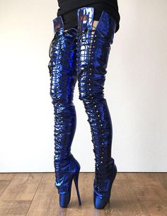 This RTBU EZRA (Wide Tongue) Electric Metallic Blue Fetish Crotch Ballet Robot Boot is just one of the custom, handmade pieces you'll find in our boots shops. Tight High Boots, Thigh High Boots Heels, Heeled Boots, High Heels, Ballet Boots, Ballet Heels, Sexy Boots, Sexy Heels, Crotch Boots