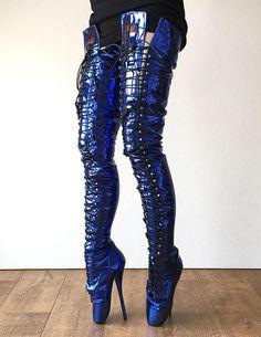 RTBU EZRA (Wide Tongue) Electric Metallic Blue Fetish Crotch Ballet Robot Boot