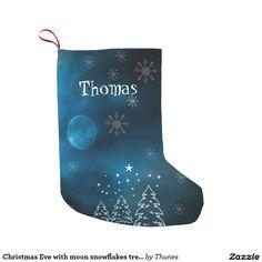 Christmas Eve with moon snowflakes trees add name Small Christmas Stocking