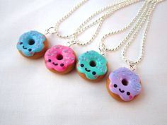 Kawaii Donut Polymer Clay Necklace Pendant by DoodieBear on Etsy, $8,00