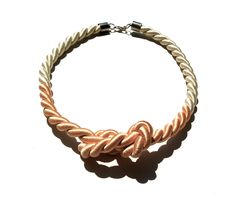 Nautical ROPE Necklace - Figure Eight Knot Sailor Jewelry - Ivory & Pale Peach. $14.00, via Etsy.