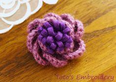 felt and crochet flower
