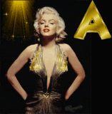 Alfabeto de Marilyn con vestido dorado.