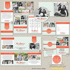 Premade Photography Marketing set -7x5 Price List Template, CD/DVD Case, DVD label - Zoe-sku1-6/ Instant Download  $39.99 USD