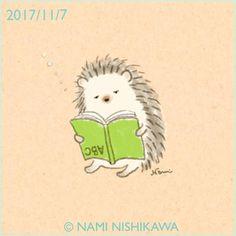 1325 はりこ、勉強してるよ I'm studying. #illustration #hedgehog #イラスト #ハリネズミ #なみはりねずみ