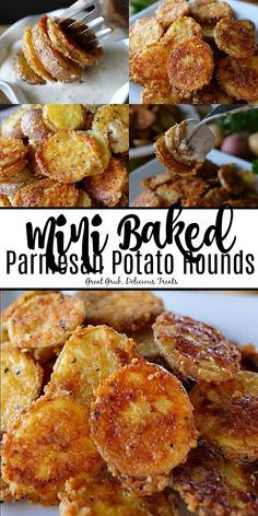 Mini Baked Parmesan Potato Rounds are delicious mini potato slices covered in Parmesan cheese, seasoned with garlic salt and pepper and baked until tender. #appetizer #deliciousrecipes #bakedpotato #yummy #greatgrubdelicioustreats