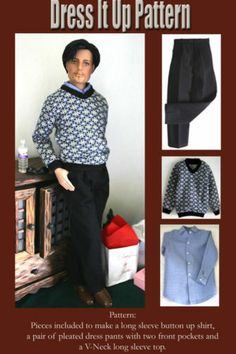 Dress it Up, the pattern includes a long sleeve button-up dress shirt, V-Neck Sweater and two pocket pleated pants.