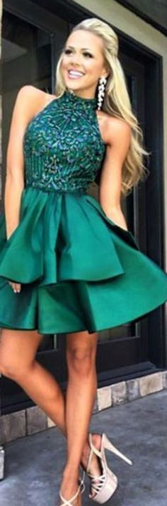 Green Halter Beading Open Back Homecoming Dresses,Short Prom Dresses,Pretty Party Dresses,Sparkly Homecoming Dresses For Teens Freshman Homecoming Dresses, Yellow Homecoming Dresses, Backless Homecoming Dresses, High Low Prom Dresses, Best Prom Dresses, Prom Dresses Online, Cheap Prom Dresses, Prom Party Dresses, Dresses For Teens