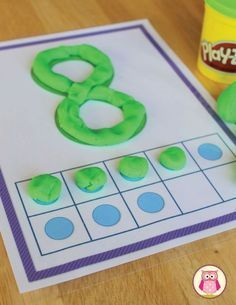 These number play dough mats can be used with play dough, manipulatives, buttons, etc. Kids can learn numeral recognition and the ten frames can be used to work on number sense. Color and black and white pages are included. Numbers Preschool, Kindergarten Centers, Math Numbers, Preschool Learning, Kindergarten Classroom, Teaching Math, Preschool Activities, Number Sense Kindergarten, Decomposing Numbers