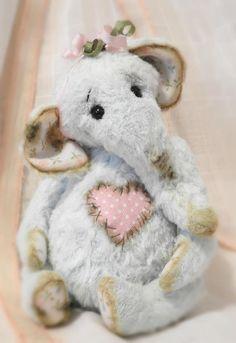 Luna A Hand Sewn Miniature Artist Elephant Teddy Bear