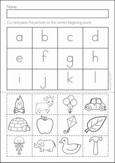 Kindergarten SUMMER Review Math & Literacy Worksheets & Activities. 104 pages. A page from the unit: beginning sounds cut and paste