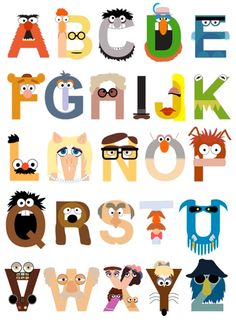 Muppet alphabet :) For my classroom. Dont care if 5th graders already know their alphabet. @deanna hughes Beaton you might enjoy this also!
