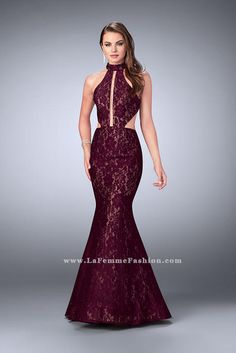 La Femme 24303 Chic lace dress with a high collar neckline and rectangular keyhole. Features side cutouts and a mermaid skirt. Back zipper closure. Mermaid Skirt, Lace Mermaid, Mermaid Dresses, Dresser, Haute Couture Gowns, Collection 2017, Perfect Prom Dress, Formal Evening Dresses, Homecoming Dresses