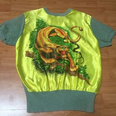 """VINTAGE 1940'S """"WELGRUME"""" PANTHER DAY-GLO CABLE KNIT ROCKABILLY SHIRT - NR"""