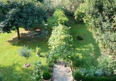 Raboni Garden. A verdant garden surrounds the house.